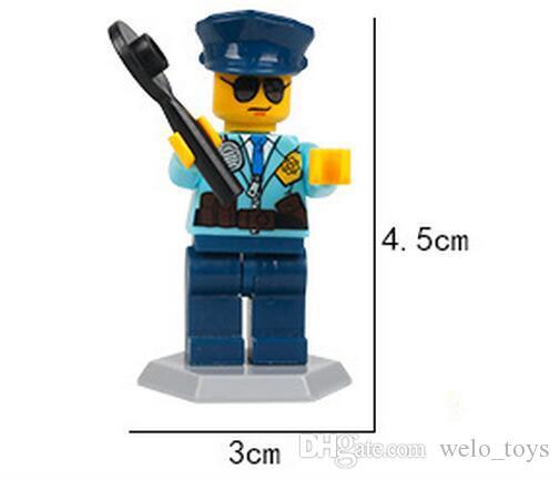 많은 아이들 빌딩 블록 벽돌 미니 만화 도시 공학 남자 인형 인형 장난감 어린이 장난감 퍼즐 장난감