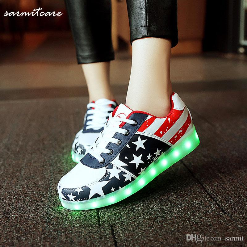 0330 - 2016 LED Light USB Recharging Shoes Gold Silver Shoes Colorful Fluorescent Light Lighting Shoes for Women Men Kids Flag Print browse cheap online sale collections free shipping fashionable ebay sale online cheap for sale Aahil