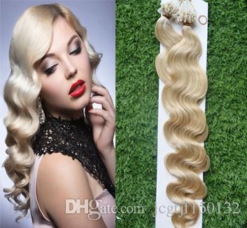 Produtos para o cabelo com micro anel em loop 100s Cabelo brasileiro loiro Extensões de cabelo humano em micro laço 100g Onda do corpo