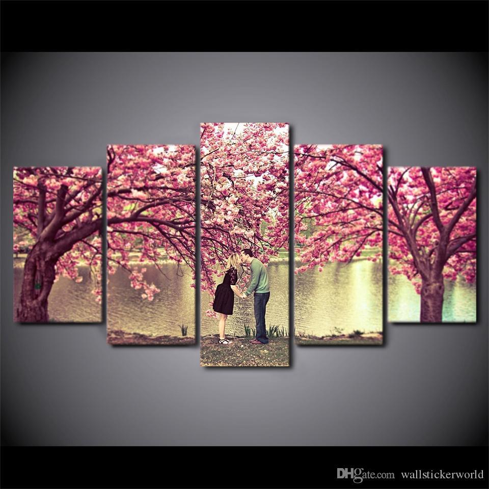 5 Шт. Розовый Цветок Холст Картины Цветы Обрамлены Модульные Настенные Панно Для Гостиной Домашнего Декора