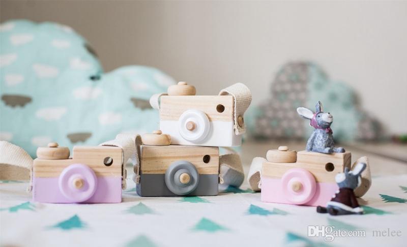 5 ألوان الأطفال كاميرا خشبية عيد الميلاد الاطفال بارد السفر مصغرة لعبة طفل لطيف الآمن هدية عيد ميلاد الطبيعية الديكور غرفة الأطفال