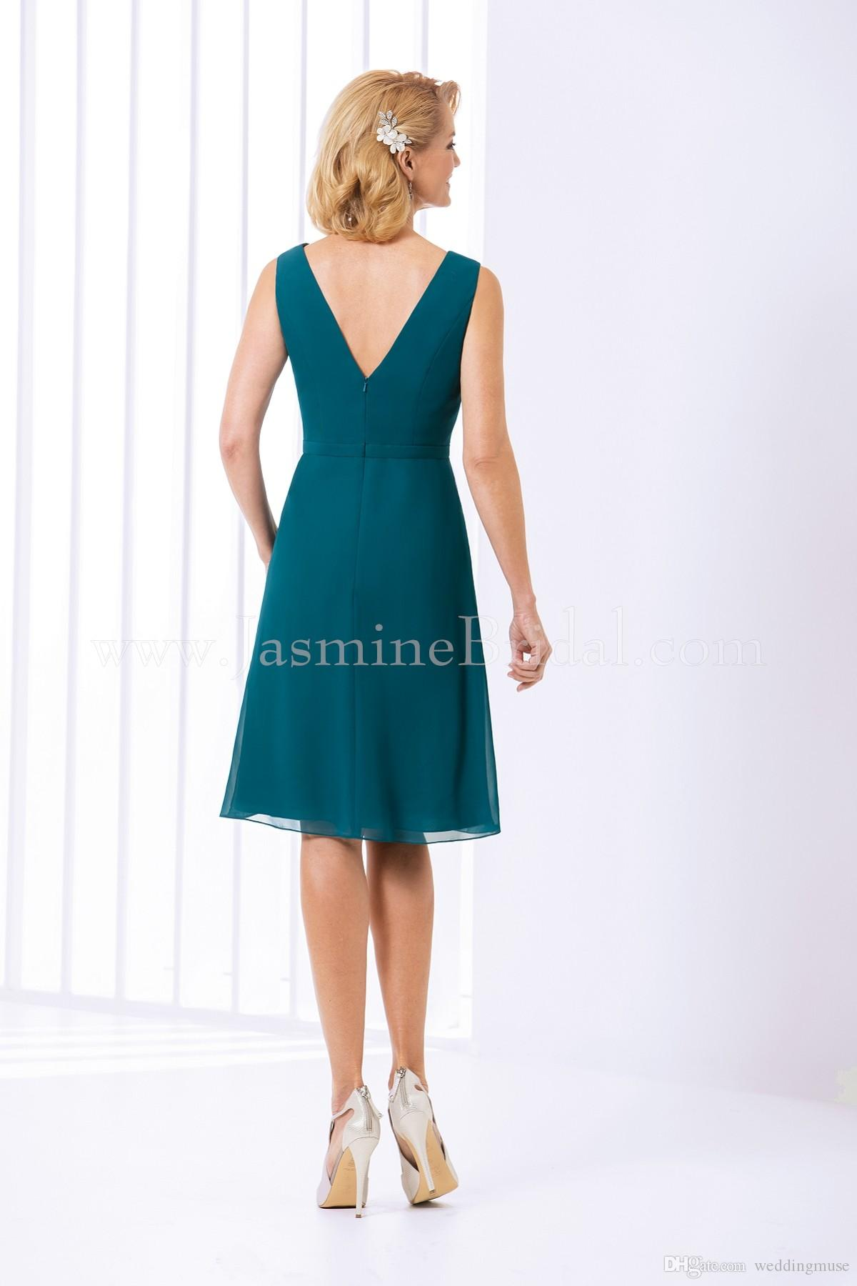 2021 Yeşil Teal Gelin Elbiseler Yasemin V Boyun Kısa Diz Boyu Şifon Örgün Akşam Balo Elbise Düğün Parti