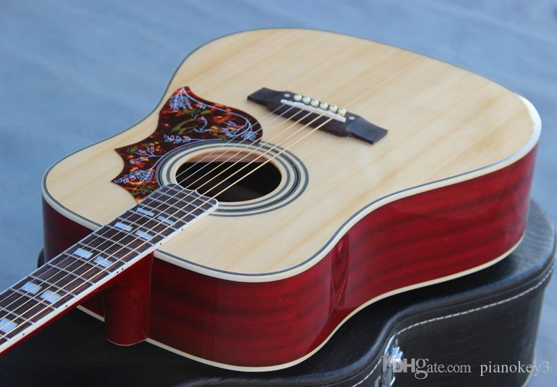 Toptan el işi gitar, 41 inç ahşap renk 6 dize humminbird ahşap renk OEM akustik elektro gitar