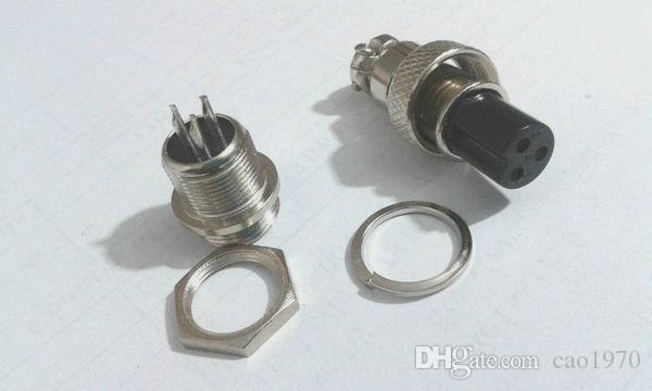 3-Pin XLR 12mm adaptador de conector de cabo de áudio montagem do chassi