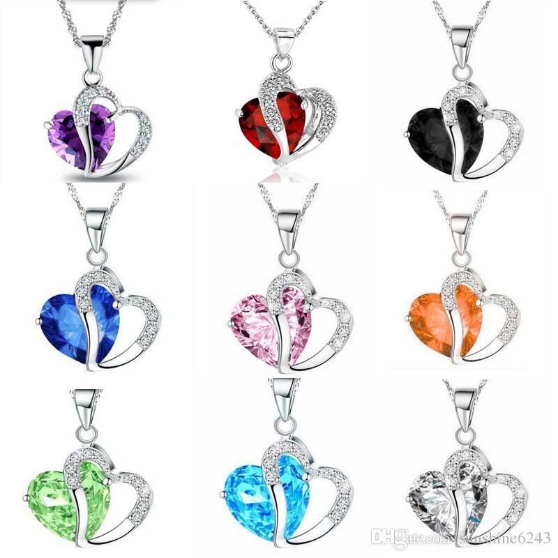 Frauen Mode Herz Kristall Strass Silber Kette Anhänger Halskette Schmuck 10 Farbe Länge 17,7