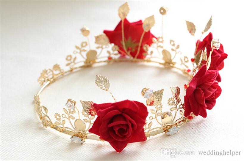 빈티지 웨딩 신부 꽃 크라운 꽃 머리띠 레드 로즈 크라운 티아라 잎 투구 공주 여왕 헤어 액세서리 빈티지 댄스 파티 보석