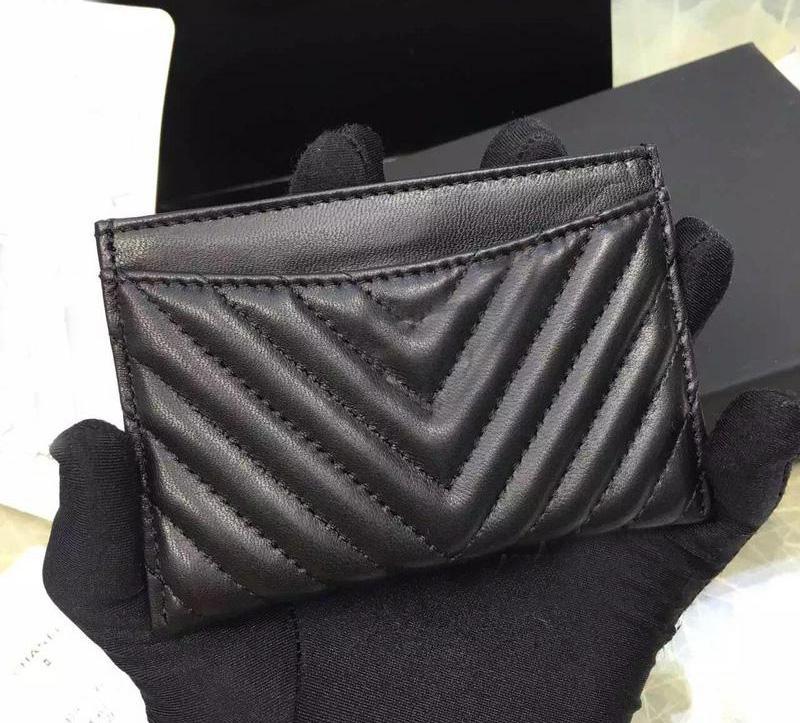 Mükemmel kalite siyah havyar V kart tutucu 2016 orijinal kuzu kart sahibinin 100% hakiki deri mini v Kafes kredi kartı tutucu
