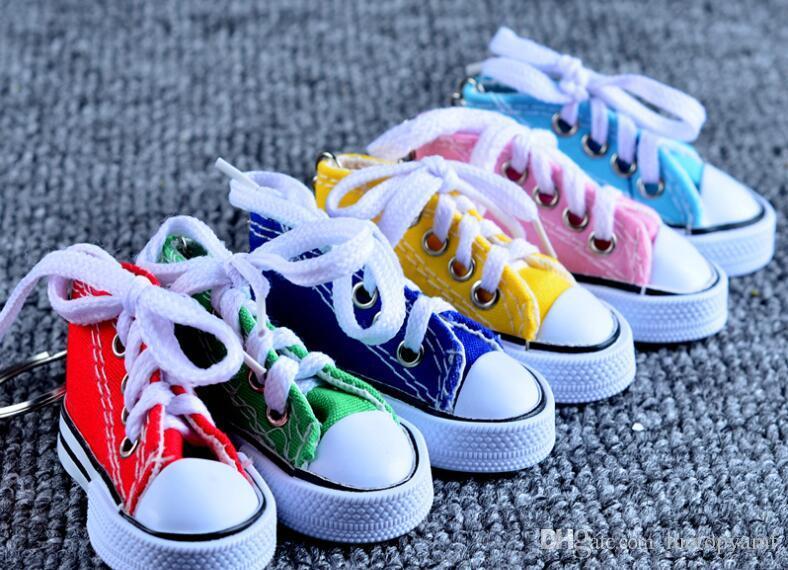 1000 قطع 7.5 * 3.5 * 4 سنتيمتر البسيطة 3d حذاء رياضة المفاتيح قماش الأحذية حلقة رئيسية التنس الطبطبات كيشاين تفضل