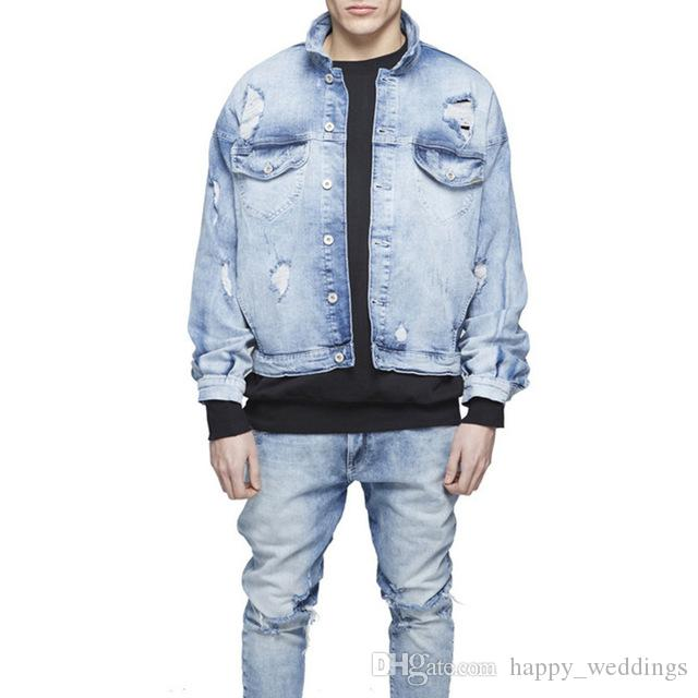 Mens Oversized Distressed Denim Jackets Streetwear Kanyye West Light