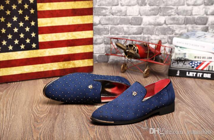 Männer Gold Spike plus Größe schwarz Navy Wildleder Leder Penny Loafers Mokassins Beleg ons Bootsschuhe Rauchen Hochzeit Kleid Schuhe 2DN8