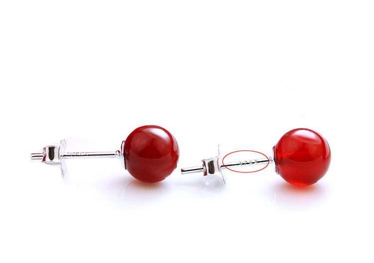 Orecchini a lobo in pietra naturale Orecchini a pendaglio in oro rosso creati gioielli femminili Tremella coreana New Silver Orecchini a perno donne