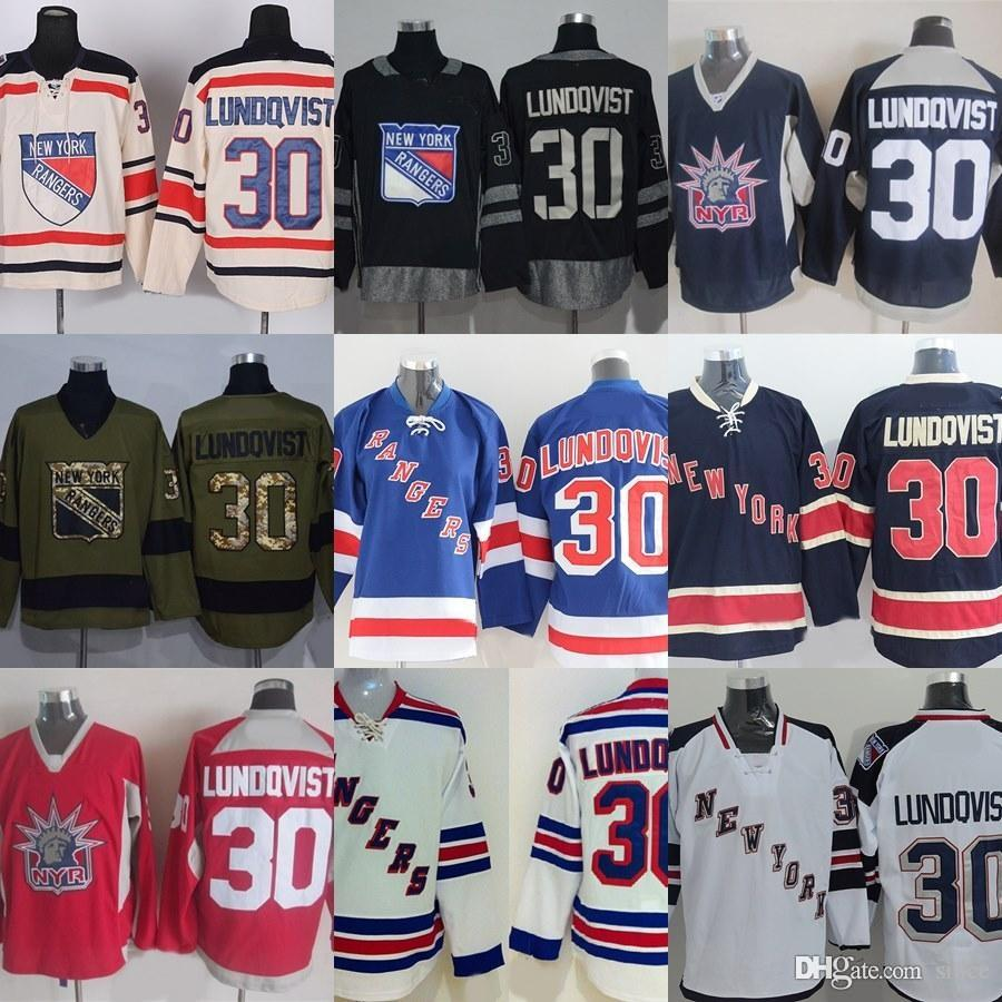 Factory Outlet Mens New York Rangers  30 Lundqvist Black Red Green ... f527e1aee