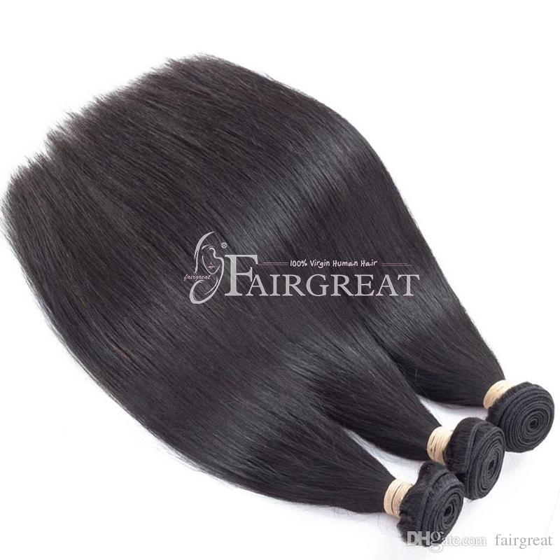 Brezilyalı Düz İnsan Saç Uzantıları ile Dantel frontal Bakire Saç Örgü Demetleri Doğal Siyah Bakire Insan saç Ürünleri Toptan
