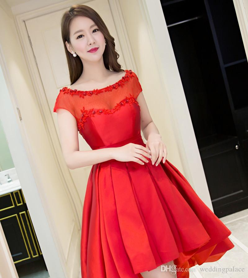 Elegant Scoop Red Party Dress Short Sleeve Lace Back Satin Knee-length Homecoming Cocktail Evening Prom Dresses