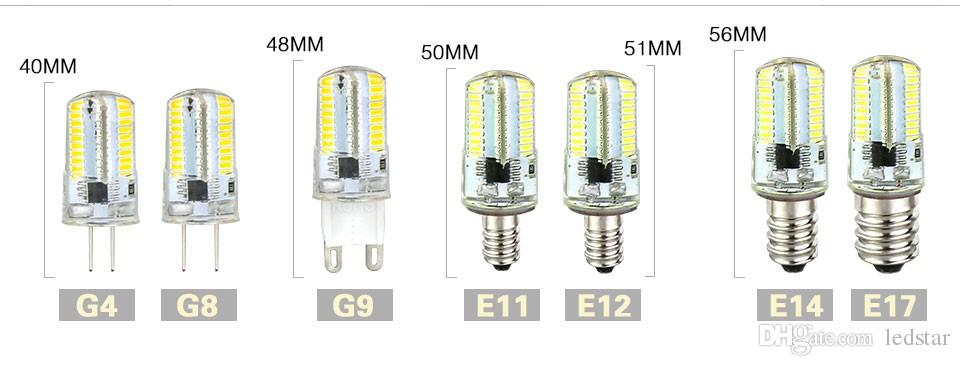 Geführtes Licht G9 G4 führte Birne E11 E12 14 E17 G8 Dimmable Lampen 110V 220V Scheinwerfer-Birnen 3014 SMD 64 152 Leds heller Sillcone-Körper für Leuchter