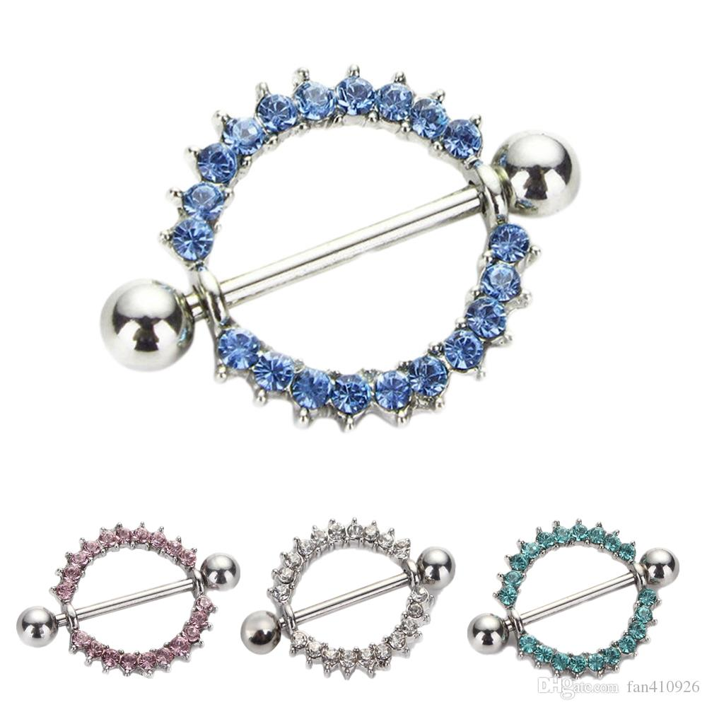 8pcs/lot mixed colors Gem Paved Circle Nipple Shield Piercing Rings Body Piercing 14G 1Pair Nipple Piercing Body Jewelry