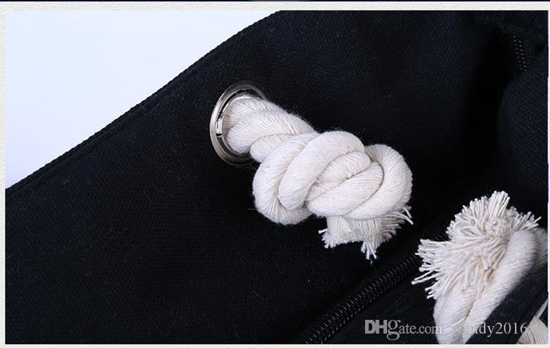 20 adet 2019 Tasarımcı kadın moda siyah beyaz çizgili plaj çantaları yaz pamuk büyük kapasiteli çift shouder el çantası kılıf