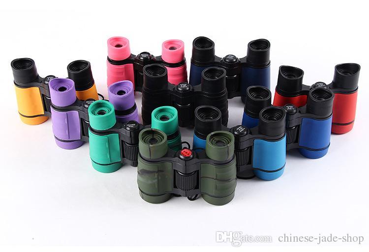 4x30 Crianças De Plástico Binóculos Telescópio De Bolso Maginification Para Crianças Jogos Ao Ar Livre Meninos Brinquedos de Presente 100 pçs / lote