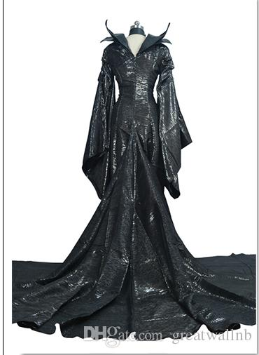 100%real black dark queen/witch/ evil queen cosplay maleficent cos dress