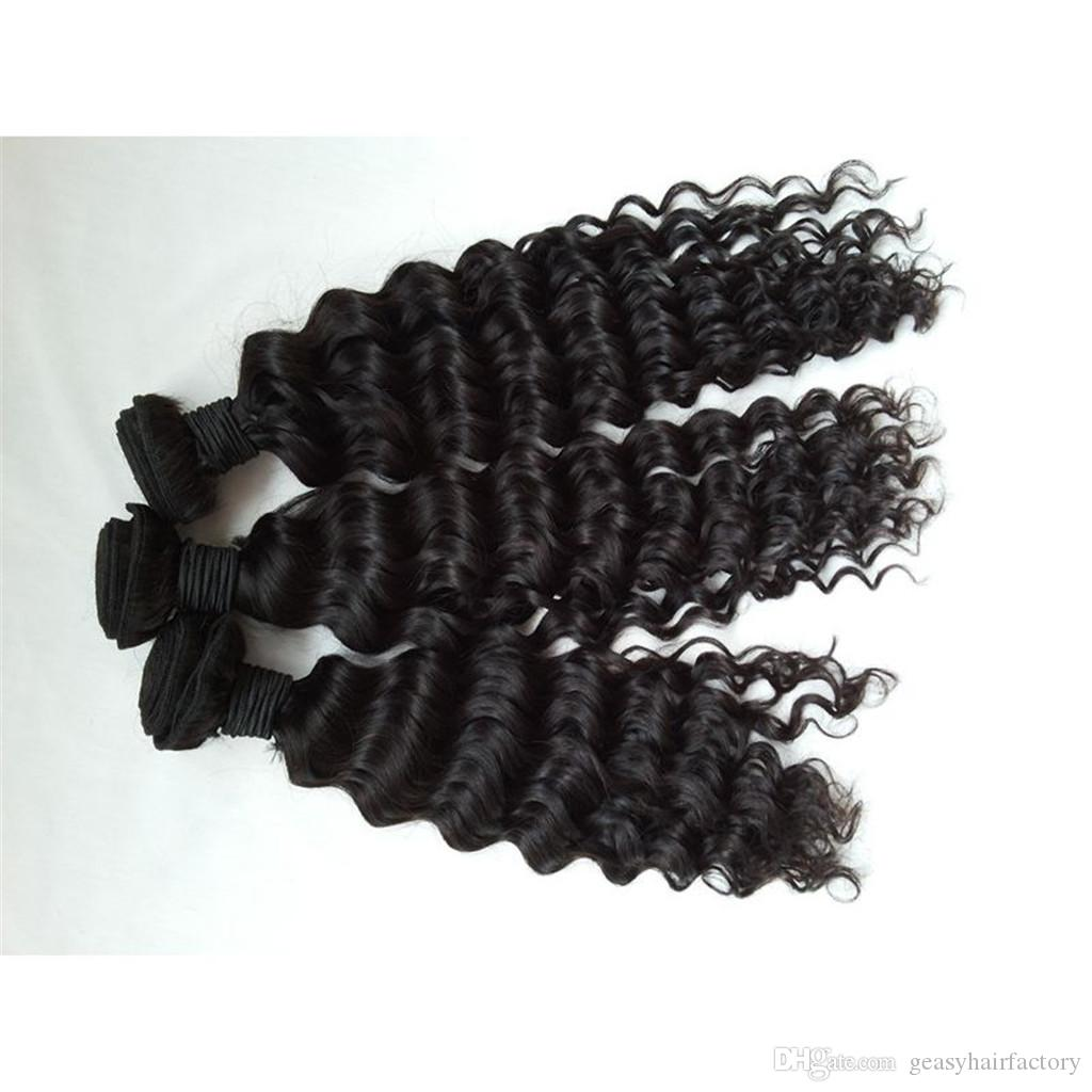Malaysian Deep Wave Human Hair Bundles With Silk Frontal Closure Bleached Knots Unprocessed Curly Hair LaurieJ Hair