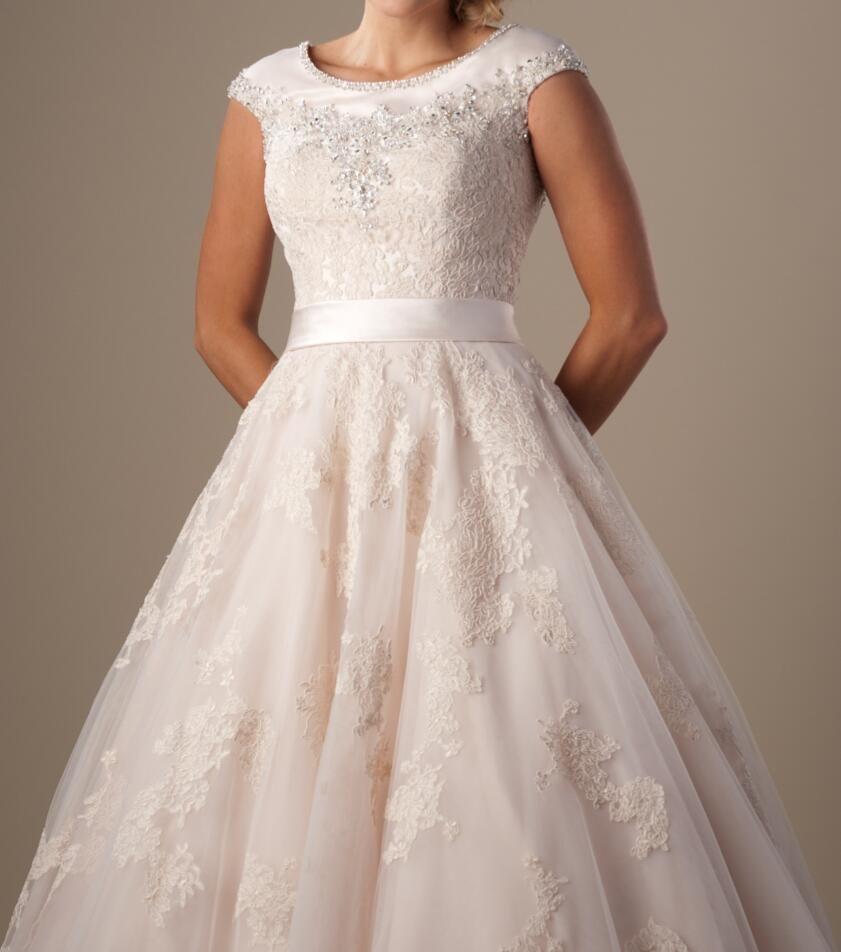 Champagner Ballkleid bescheidene Brautkleider Kappenhülsen Perlen Spitze Tüll Jewel High Neck Tempel Braut Dresses Buttons Zurück Formale Zeremoney