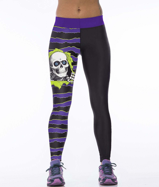 33d4911b5d616 2019 Halloween New Women'S Fitness Baseball One Piece Sports 3D Print  Leggings Ladies White Skull Yoga Sexy Pencil Pants From Katema, $11.06    DHgate.Com