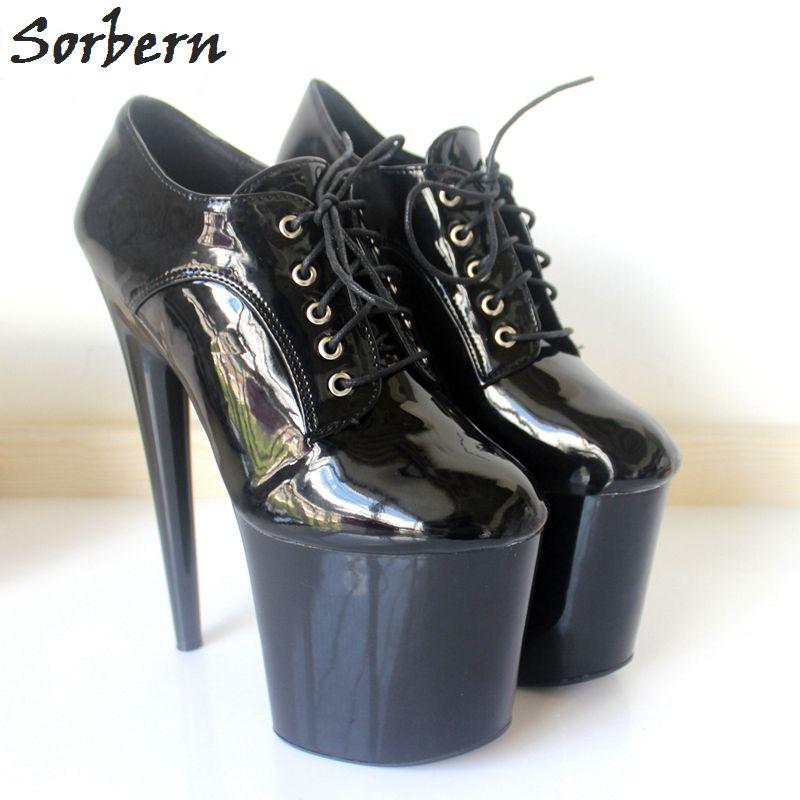 Sorbern 2018 Womens Shoes Nightclubs Super High 20cm Tacco a spillo Piattaforma Scarpe a stiletto Stringate da ballo Fetish Sex Party Pompe Altri colori