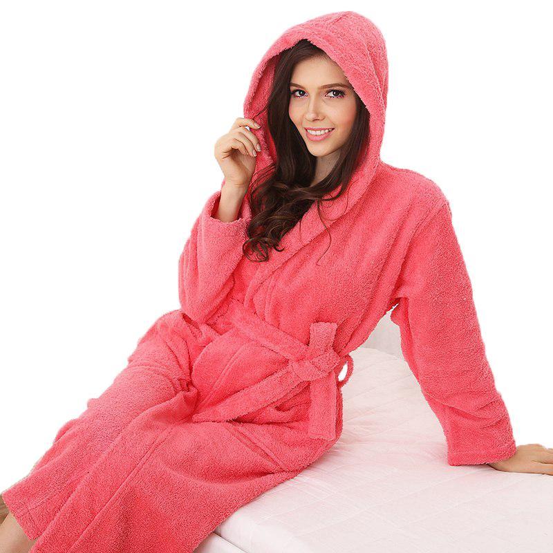 2019 Wholesale Hooded Cotton Bathrobe Women Men Plus Size Xl Nightgown  Sleepwear Girls Blanket Towel Fleece Thick Lovers Long Soft Winter White  From ... 6853de8f9