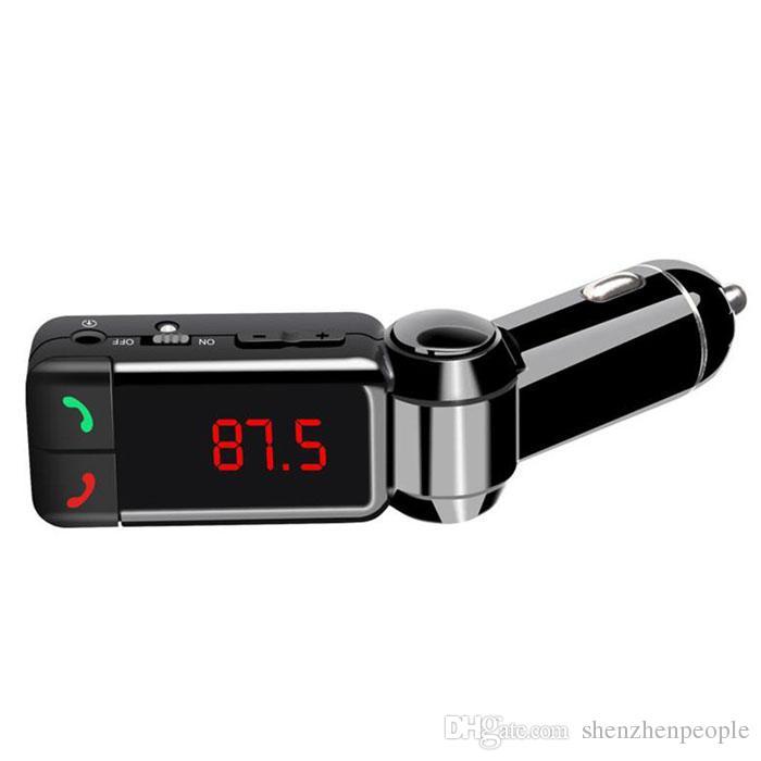 Últimos accesorios universales Mini Cargador de automóvil Bluetooth Manos libres con doble puerto de carga USB 5V / 2A LCD U DISK FM BROADCAST MP3 AUX