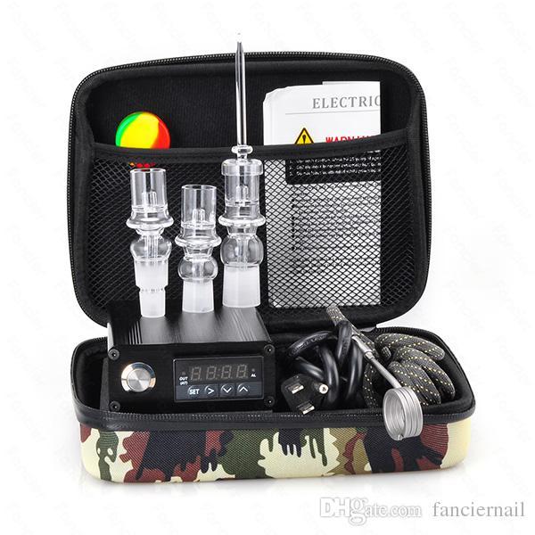 Cheap E Quartz Nail Electric Dab Nail Box Kit Quartz Nail Carb Cap 14 18 MM Male Temperature Controller Rig glass Bongs
