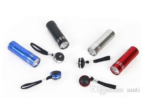 Mini 9 LED Lámpara de curado en gel uv sin batería Portabilidad Secador de uñas Linterna LED Detector de moneda Aleación de aluminio
