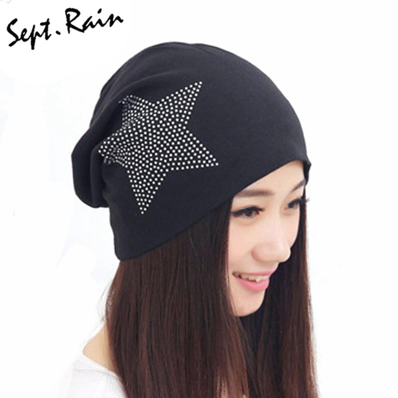 a46eb8d3d484d Wholesale New Autumn Fashion New Knit Baggy Beanie Hat With Star Female  Warm Winter Hats For Girls Women Beanies Bonnet Head Cap M0578 Beanies For  Men ...