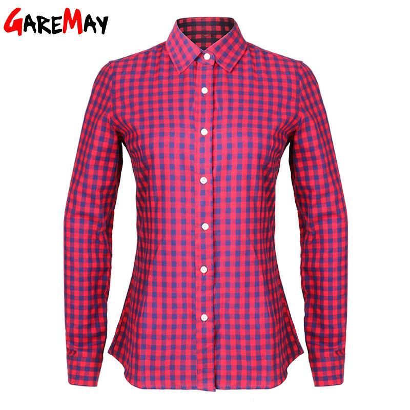 Women s Shirts Blouses Blusas Cotton Spring 2017 Tops Women Plaid Shirt  Females Long Sleeve Slim Plus Size Blouses Clothing Q171135 High Quality  Plus Size ... b26fa551386c