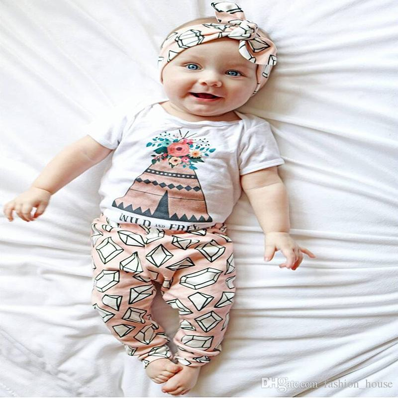 INS Baby Sets Clothing Fashion Kids Girls Florals Short Sleeve One-piece Rompers+Pants Set Children Outfits Clothes A08