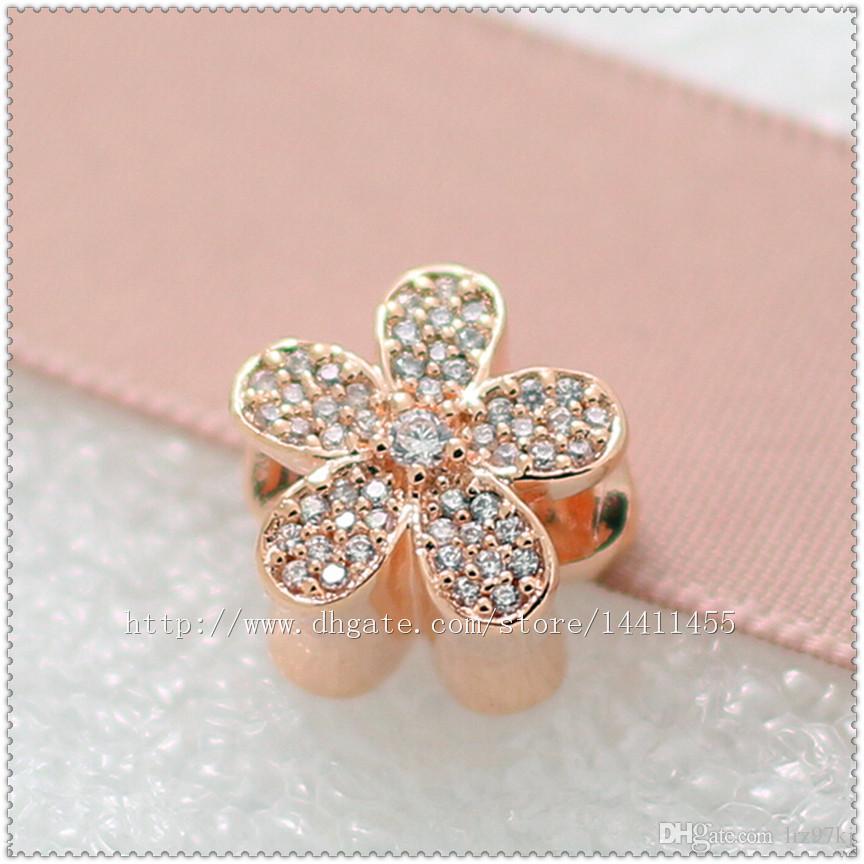 925 Sterling Silver Rose Plated Gold Daisy Daisy Charm Perle avec Cle CZ Convient aux colliers de bracelets de pandora européen