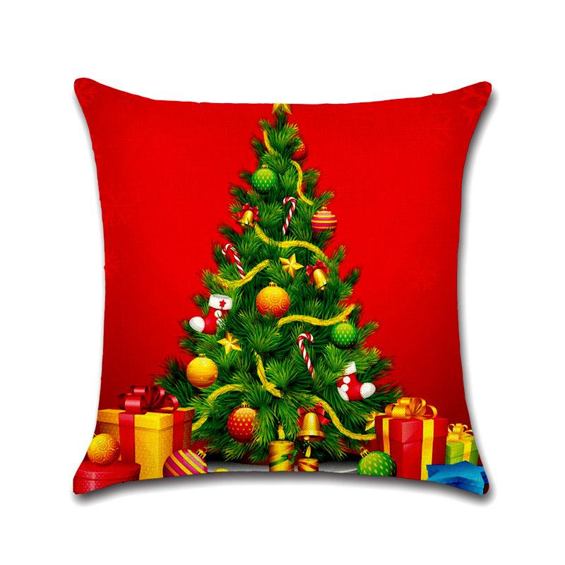 Hot Christmas Decorations For Home Reindeer Jute Pillow Cover Case Merry Christmas Square Linen Kerst Noel