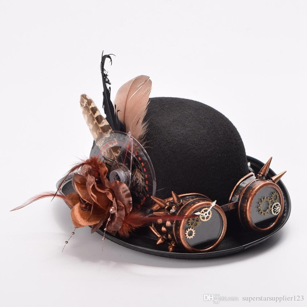 e03a51856d3c4 2019 Women Men Vintage Steampunk Hat Feathers Gear Glasses Decoration  Gothic Black Hat Headwear Victorian Style High Quality From  Superstarsupplier123