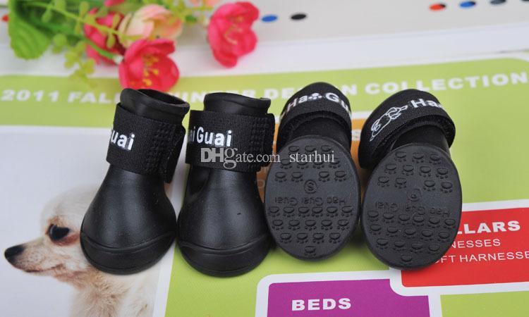 4 Pçs / set Cão Sapatos Moda Animais de Estimação Cão de Borracha Sapatos De Chuva Colorido Botas À Prova D 'Água Adorável Cores Doces Chuva Sapatos S / M / L WX-G16