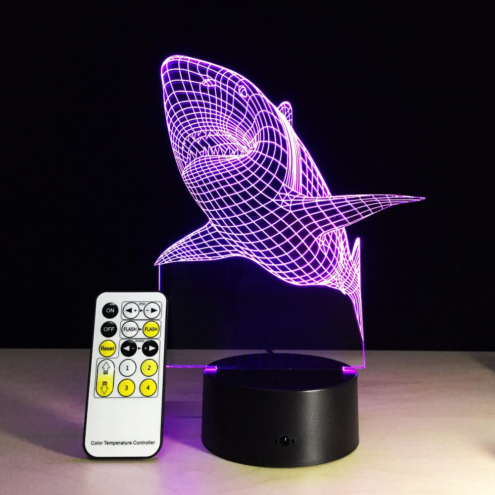 d remote control desk lamp acrylic shark fish shape night  - see larger image