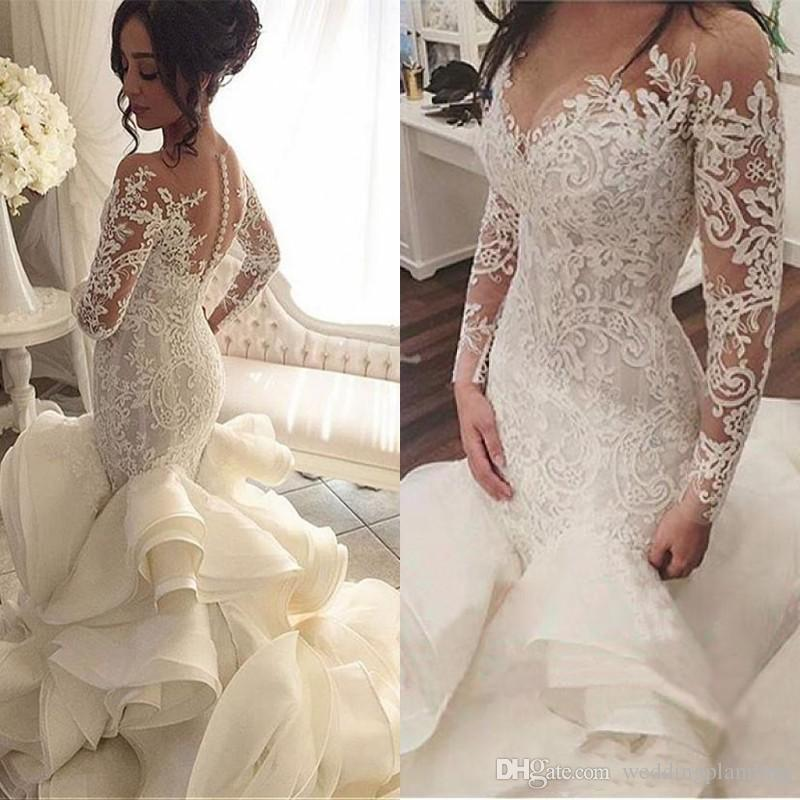 vestido de noiva Long Sleeves Wedding Dresses with Sheer Neck Vintage Mermaid Appliques Lace Tulle Bridal Gowns