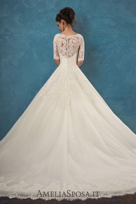 2018 Wedding Dress Amelia Sposa Patrizia Lace Ball Gown Wedding Dresses Bridal Gowns Vestido De Novia Applique V Neck Buttons Half Sleeve