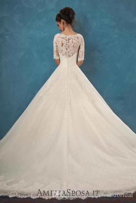 2019 Wedding Dress Amelia Sposa Patrizia Lace Ball Gown Wedding Dresses Bridal Gowns Vestido De Novia Applique V Neck Buttons Half Sleeve