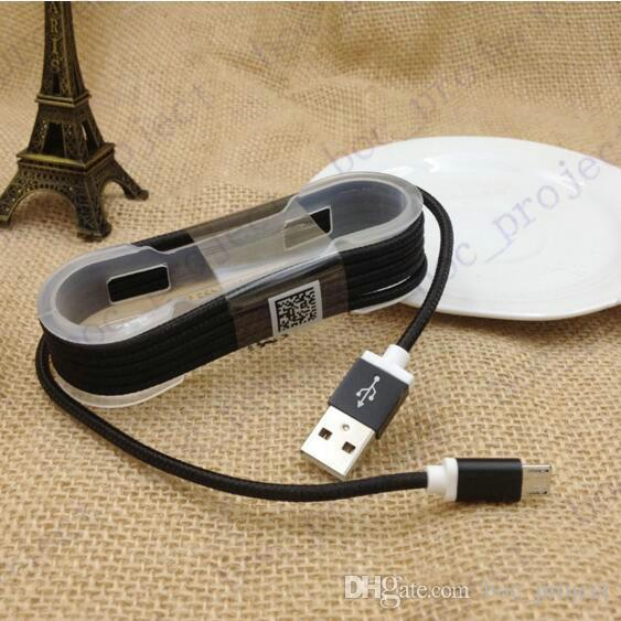 1.5 м красочные нейлон плетеный круглый USB кабель сильная ткань Micro USB и USB синхронизации данных зарядный кабель для Android 200 шт. / лот