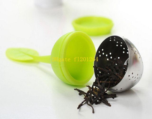 Tetera dulce hoja té infusor herramienta de café silicona acero inoxidable colador