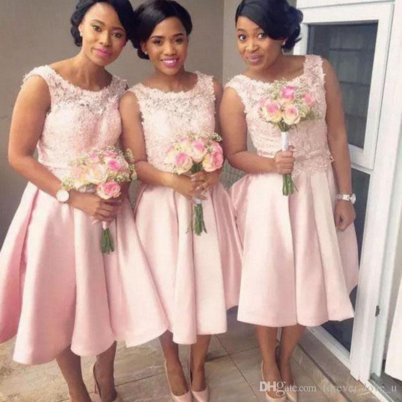 2018 Gorgeous Arabic Bridesmaid Dress Tea Length Blush Pink Lace Top ...
