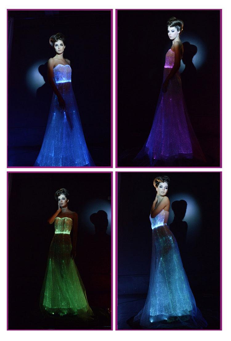 Discount Led Lighting Wedding Dresses Porm Fiber Optical Luminous Colorful A Line Bridal Veil Vestido De Novia Gowns For Sale Halter: Wedding Dress With Led Lights At Websimilar.org