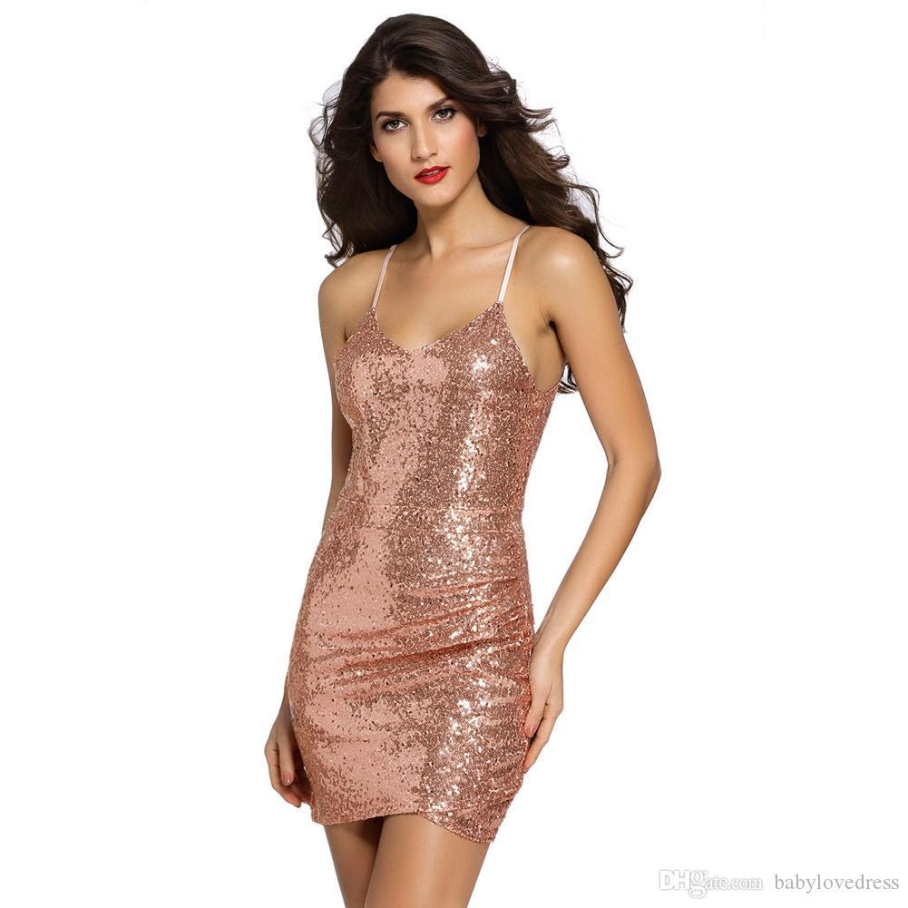 Funkelnde Pailletten kurze Mini Club tragen Cocktail Party Kleider Spaghetti-Träger Reißverschluss v backless vestidos de novia