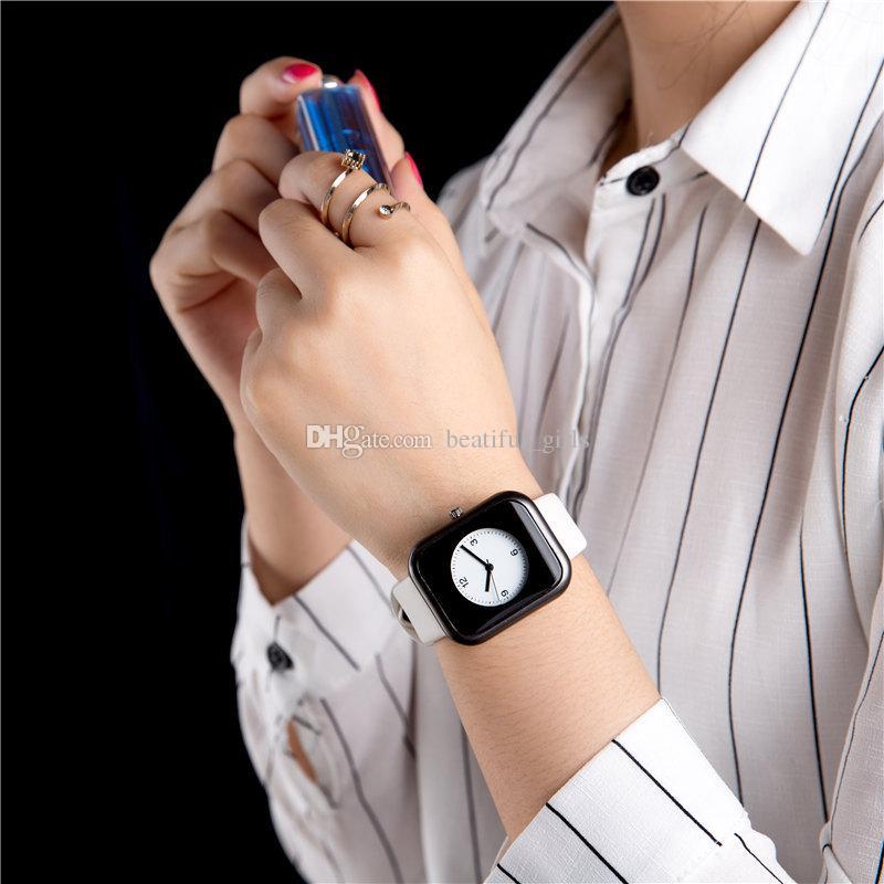 Mode simple étudiants rétro rectangle petit tempérament frais montre cadran ultra mince Casual homme horloge à quartz fille montre montre cadeau