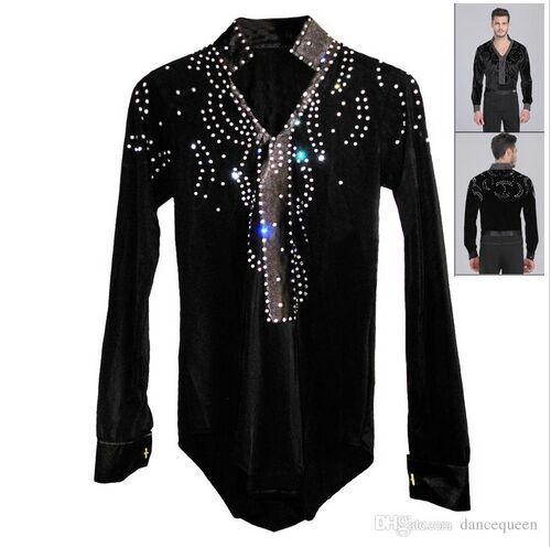 cd07f5941 2018 Men/Boy Latin Dance Dress Ballroom Dance Tops High Grade Velvet Drill Latin  Dance Shirt Long Sleeve Dancewear Shirts Canada 2019 From Dancingqueen88,  ...