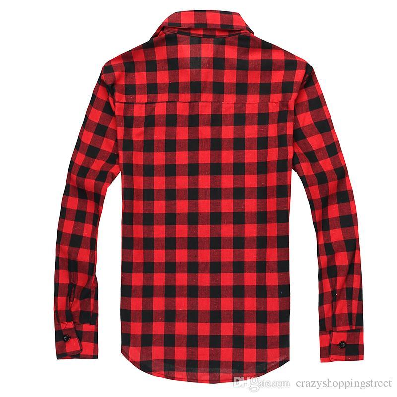 Camisa de cuadros de franela de manga larga para hombres nuevos Camisas de vestir a cuadros para hombres Moda elegante con estilo Envío gratis